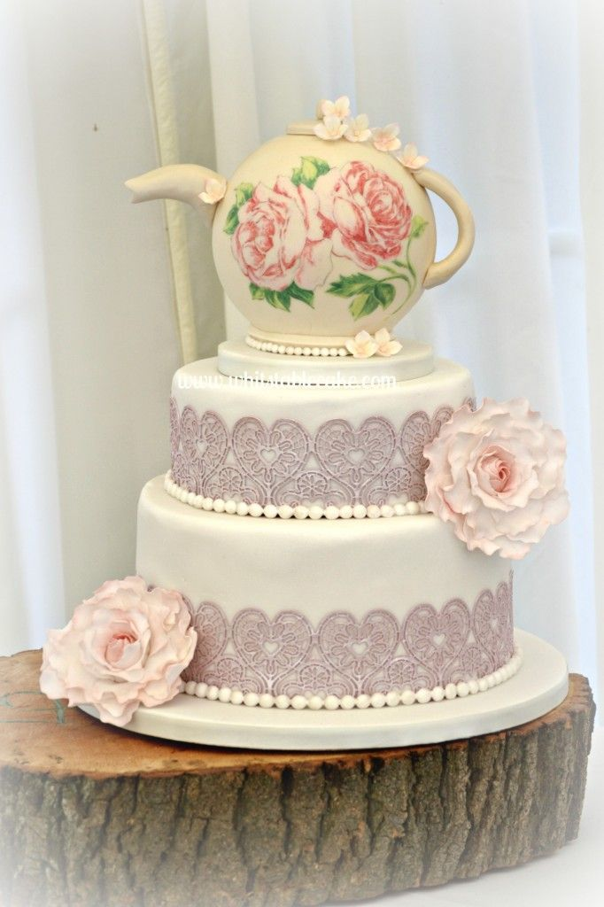 wedding bakeries in sacramento ca%0A Vintage lace teapot wedding cake with peonies