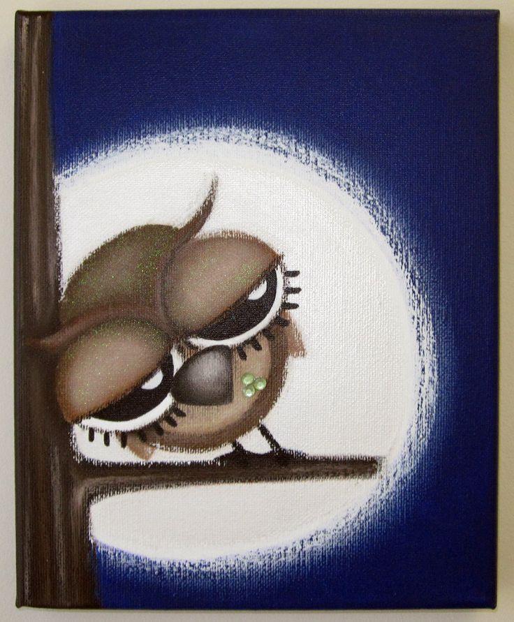 sLeePy oWL  8x10 original painting on canvas by art4barewalls, $35.00
