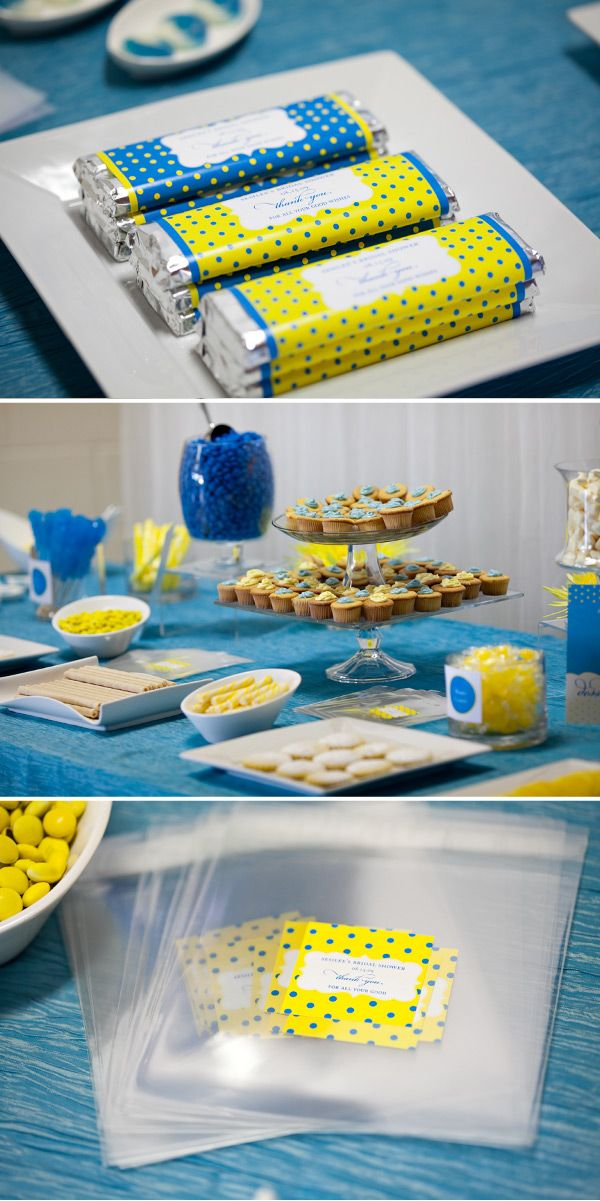 dessert table. Wrong blue, but good ideas.