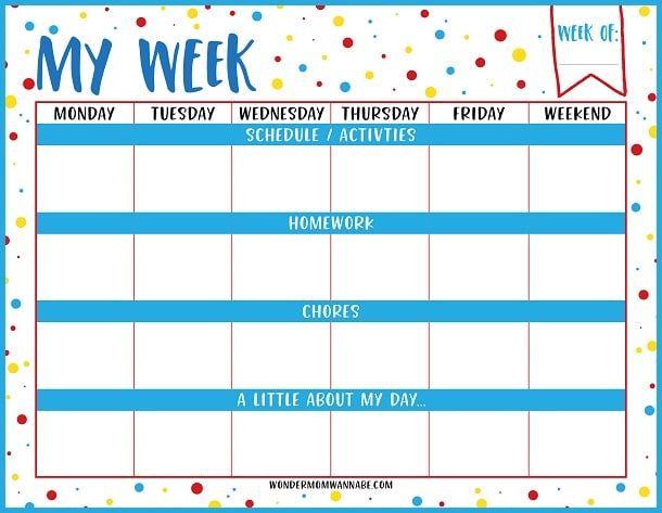Free Printable Weekly Planner With Images Kids Weekly Planner