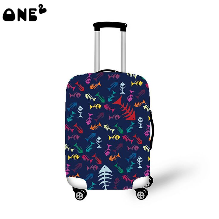 ONE2 Design blue fish colorful 22,24,26 inch luggage cover suitcase high school students man girls lady women boys teenager