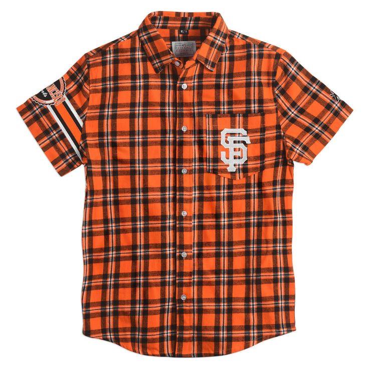 #SanFrancisco Giants Wordmark #ShortSleeve Flannel #Shirt by Klew
