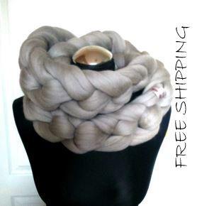 Chunky Knit Scarf Woll Scarf Soft Wool Scarf Merino by Merrisson