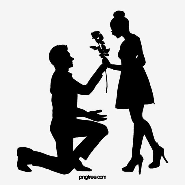 Boys Propose Flowers To Girls To Give A Black Silhouette Schoolboy Propose Flower Png Transparent Clipart Image And Psd File For Free Download Boy Silhouette Boy And Girl Sketch Girl Silhouette