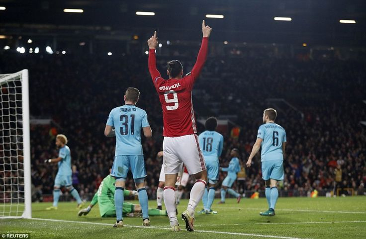United striker Ibrahimovic celebrates after goalkeeper  Jones inadvertently scored an own ...