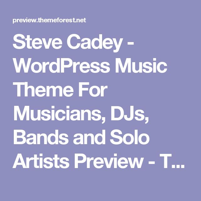 Steve Cadey - WordPress Music Theme For Musicians, DJs, Bands and Solo Artists Preview - ThemeForest