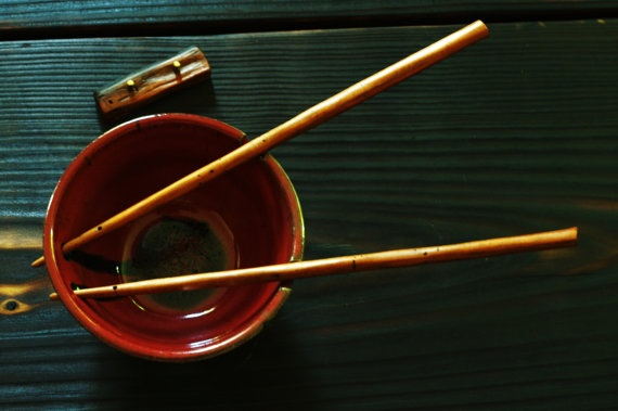 Rustic Wild Cherry Wood Chopsticks With Chopstick Rest- Handcarved. Handmade