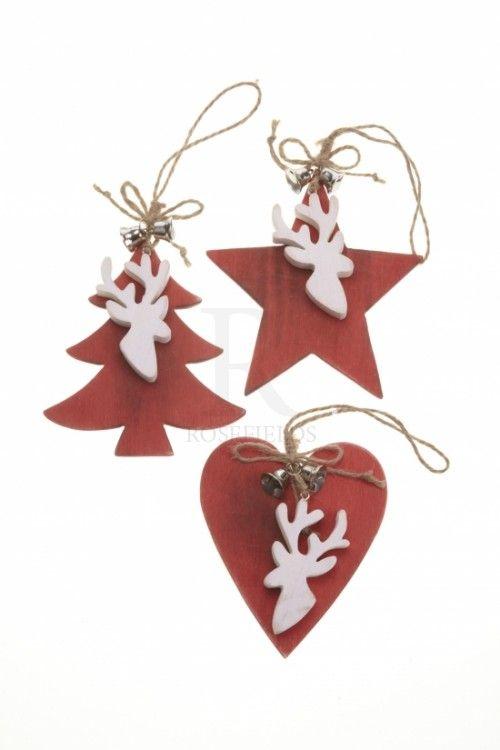 Heart Tree Star Reindeer Head Hanger @ rosefields.co.uk