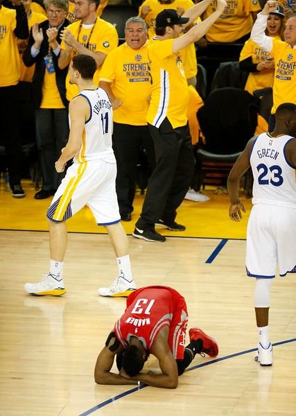 Description of . Houston Rockets\' James Harden (13) reacts after their 99-98 loss to the Golden State Warriors for Game 2 of theNBAWesternConferencefinalsat Oracle Arena in Oakland, Calif., on Thursday, May 21, 2015. (Nhat V. Meyer/Bay Area News Group)