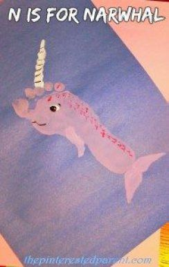N is for Narwhal footprint craft