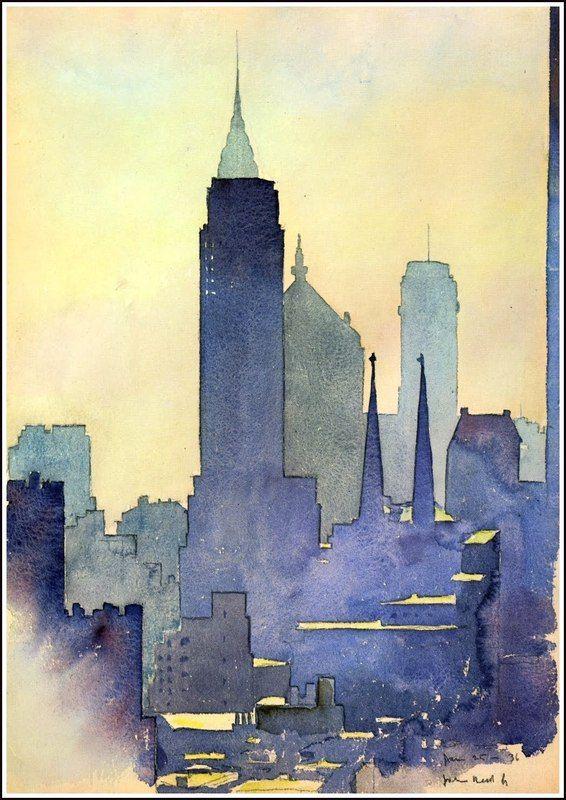 skyline watercolor