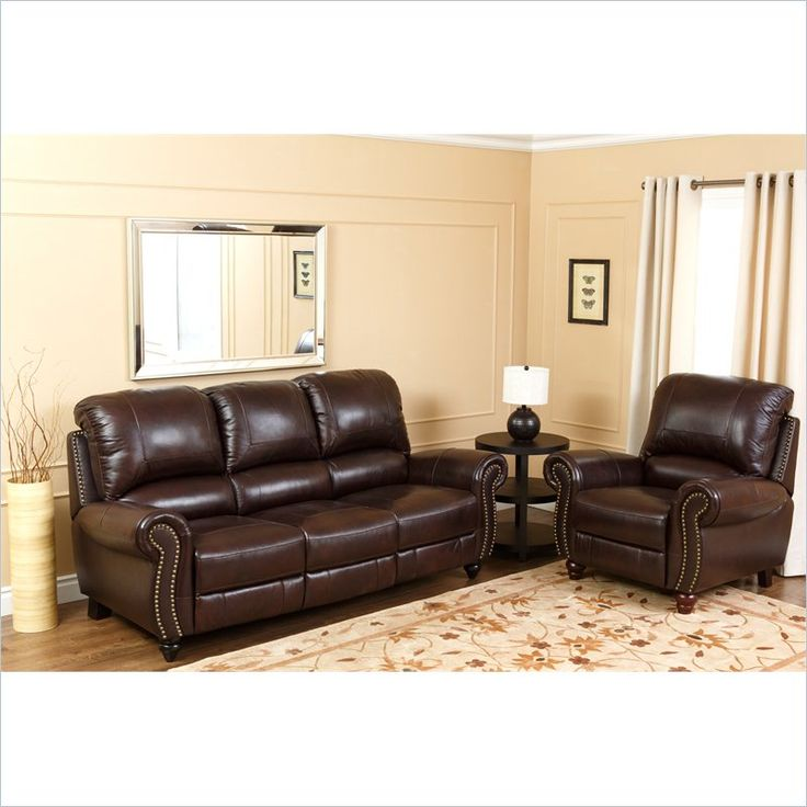 bobs living room sets%0A Abbyson Living Herzina Italian Leather Sofa Sets in TwoTone Burgundy   CH
