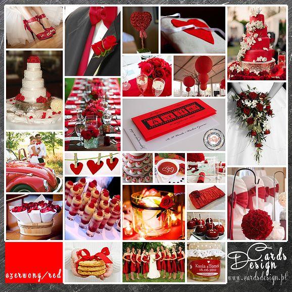 Paleta kolorów - kolor przewodni ślubu - czerwony / RED www.cardsdesign.pl