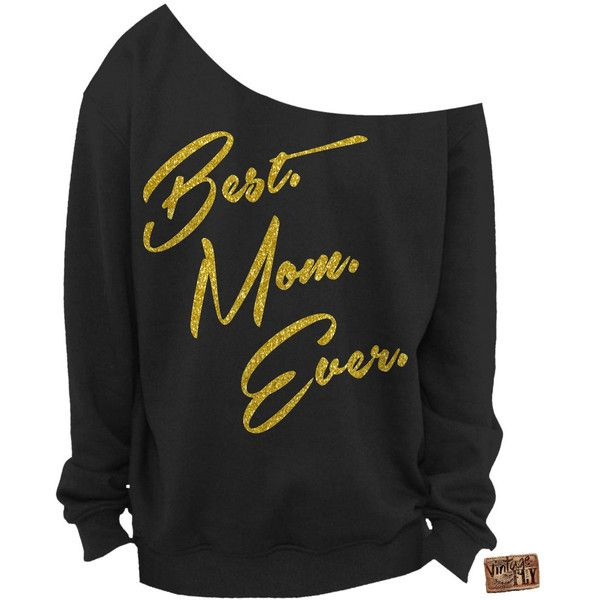 Mothers Day Gift Best Mom Ever Ladies Slouchy Sweatshirt Off the... ($25) ❤ liked on Polyvore featuring tops, hoodies, sweatshirts, shirts, jumpers, silver, women's clothing, off the shoulder sweatshirt, off shoulder slouchy top and slouchy off the shoulder shirt