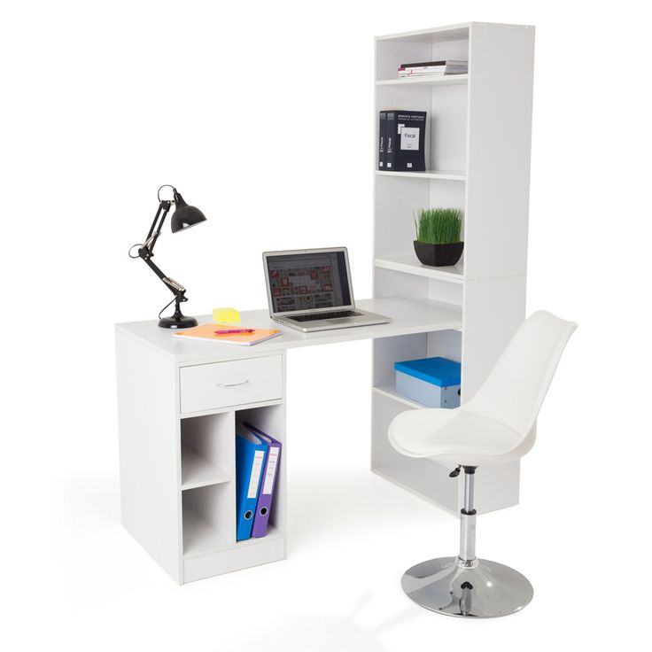les bureaux droit et angle print bureau avec tag re blanc. Black Bedroom Furniture Sets. Home Design Ideas