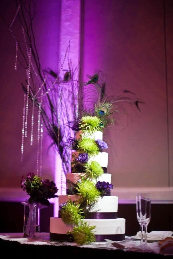 black white purple wedding reception%0A Purple And Green Wedding Ideas   Purple accents help carry a peacock theme  into displays and