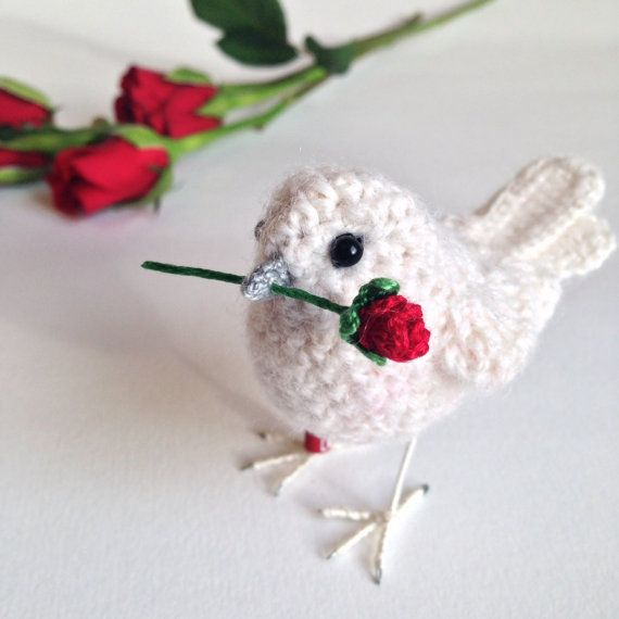 Love you bird perfect Valentine's gift by FreshlyKnittedThings