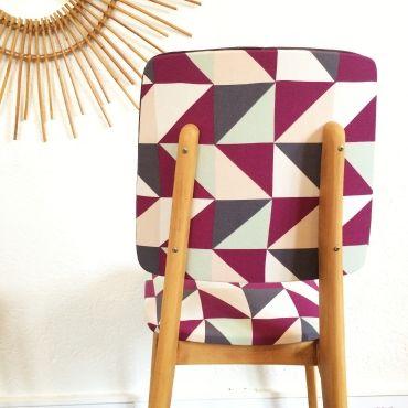 Eugénie, la paire de chaises scandinaves rénovées vintage des 60's sur www.chouettefabrique.fr