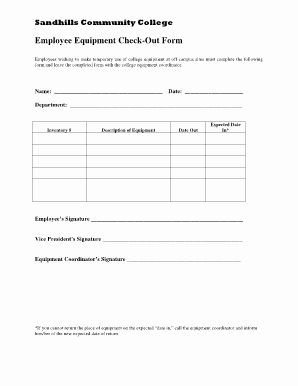 Equipment Checkout Form Template Unique Best S Of Employee