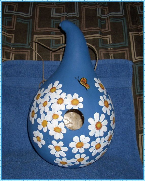 Hand painted Gourd  Birdhouse that  has daises and by llister, $12.99