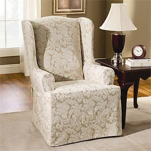 parsons chairs with short ruffled slipcover linen wing chair slipcover wing chair