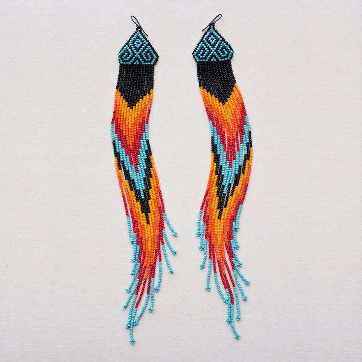 Native American Style Chevron Beaded Earrings.