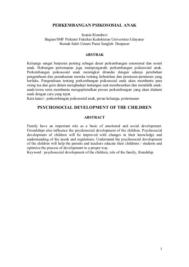 1 Perkembangan Psikososial Anak Scania Riendravi Bagian Smf Psikiatri Fakultas Kedokteran Universitas Udayana Rumah Sakit Person Personalized Items
