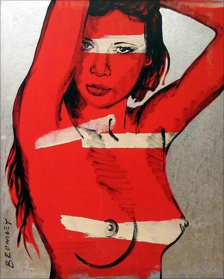 """DAVID BROMLEY Nude """"Laura"""" Polymer & Silver Leaf on Canvas 150cm x 120cm"""