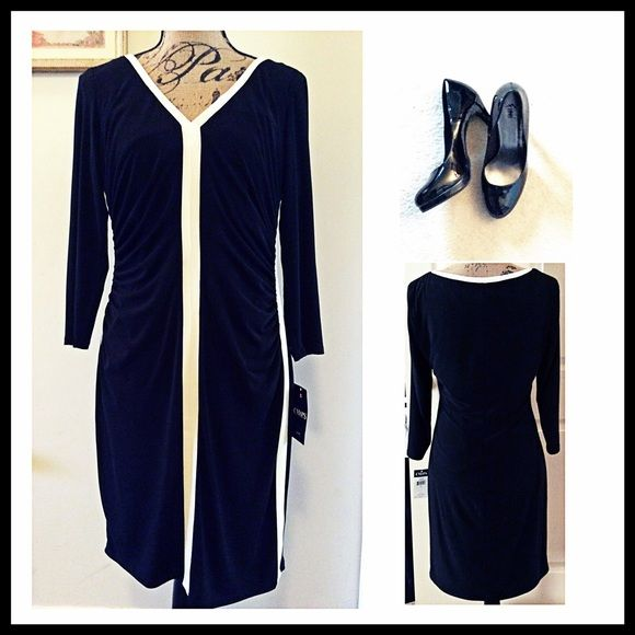 Black & Cream Chaps Dress Gorgeous Black and Cream Dress by Chaps. Never worn. Nice casual dress for work, church, or just a night out with the girls! Chaps Dresses