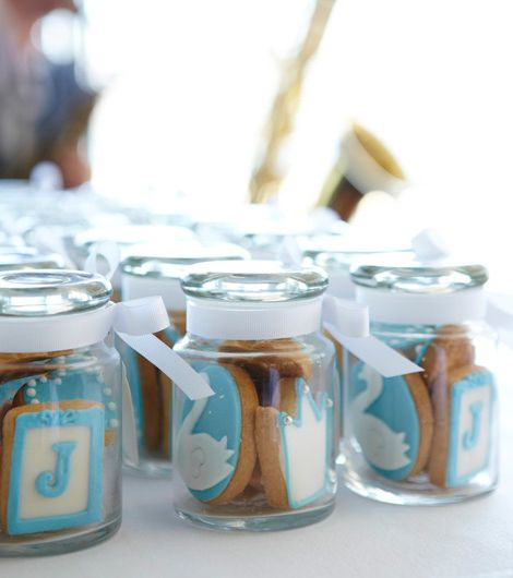 Cute boy communion favors - also good for christening celebration - blue mini cookies in a jar.