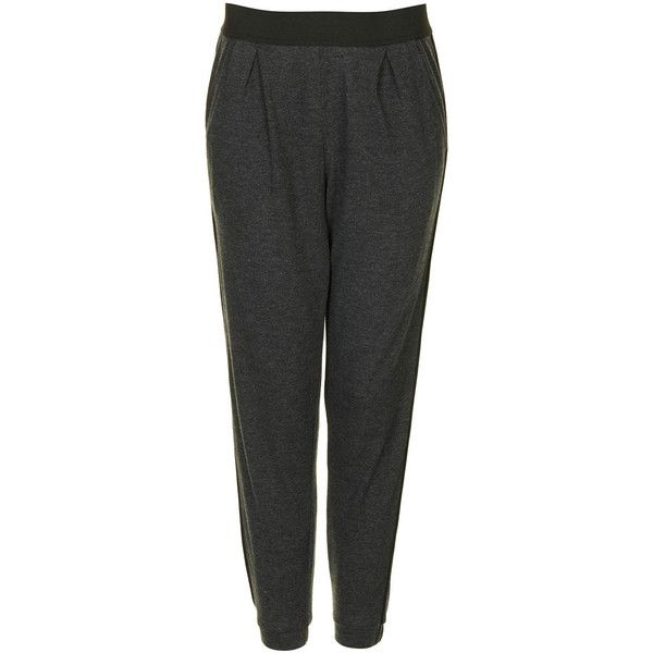 Piped Jersey Tapered Trousers (110 BRL) ❤ liked on Polyvore featuring pants, trousers, taper cut pants, topshop pants, tapered trousers, tapered fit pants and topshop trousers