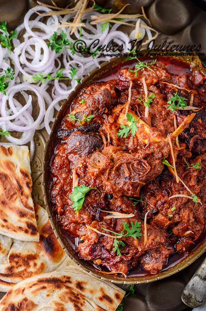 Bhuna Gosht means goat meat/lamb slow pan cooked with spices by simmering it for long hours and reducing the gravy till it reach deep red/brown thick luscious gravy