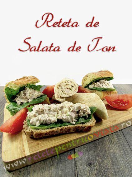Salata de ton este un aperitiv pe baza de peste delicios, sanatos si consistent care poate fi servit ca sandwich, cu salata verde si cu rosii.