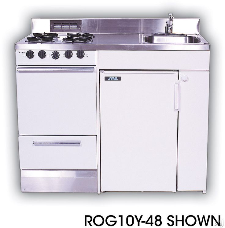 Acme ROG10Y51 Compact Kitchen with Stainless Steel Counter top, 4 Gas Burners, Oven, Sink and Compact Refrigerator: 51 Inches - Great for tiny house