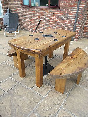 QUIRKY INDUSTRIAL CABLE DRUM RUSTIC TABLE/GARDEN SET.BESPOKE AND MADE TO ORDER