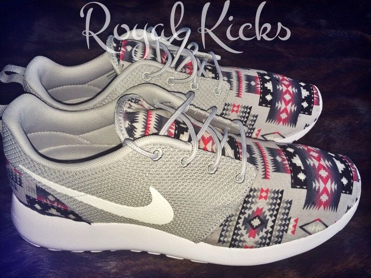 Tribal Aztec Gray Nike Roshe Run Custom Sneakers by xRoyalKicksx on Etsy https://www.etsy.com/listing/221878171/tribal-aztec-gray-nike-roshe-run-custom