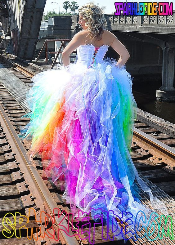 Vivid Rainbow Wedding Dress by SparkleFide on Etsy....Halter cut/crisscross back.