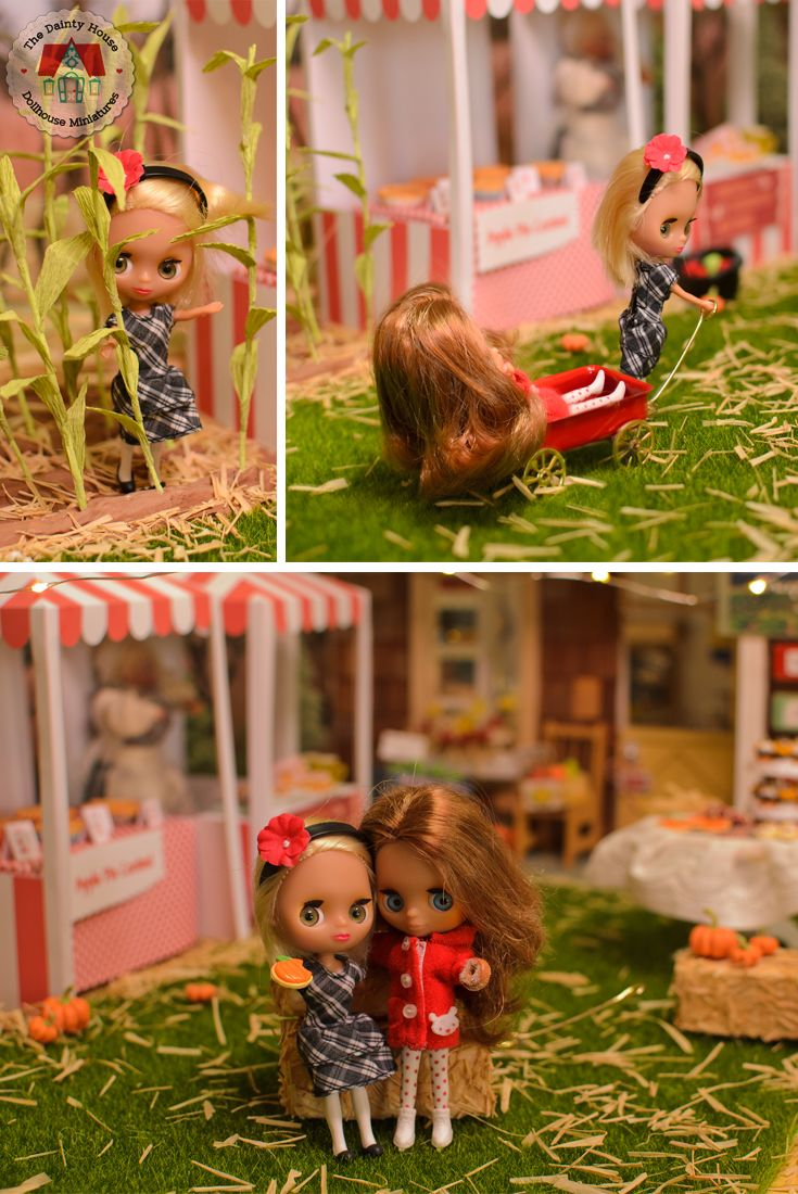 The mini Blythe friends have some fun at the miniature harvest festival in 1:12 scale.