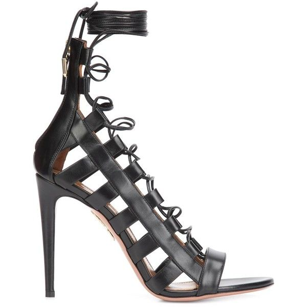 Aquazzura Strappy Stiletto Sandals ($695) ❤ liked on Polyvore featuring shoes, sandals, black, black strappy shoes, black sandals, black strappy stilettos, black leather shoes and strappy stiletto sandals