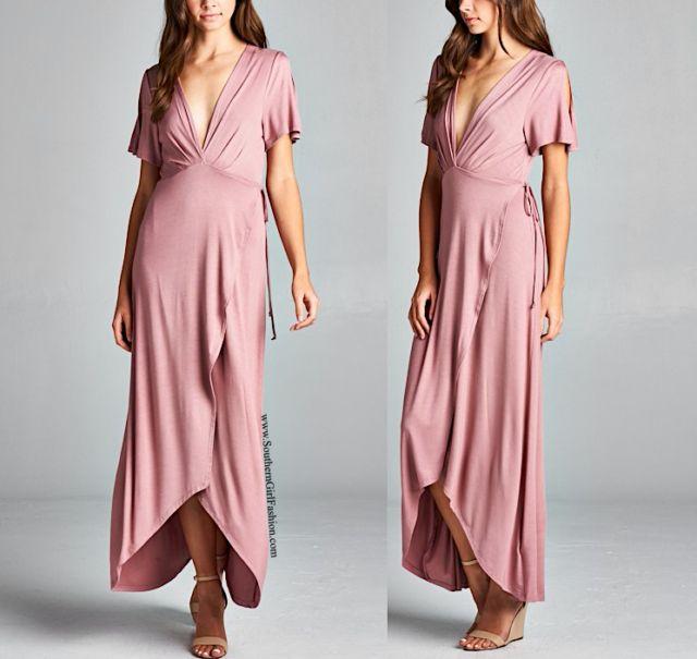 SOUTHERN GIRL FASHION  Pink Maxi Dress Surplice High Low Long Draped Wrap Gown