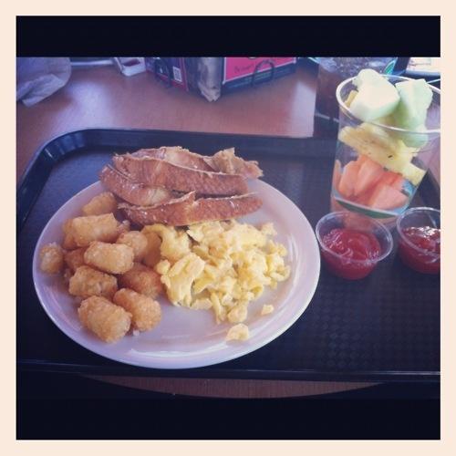 breakfast (tater tots, scrambled eggs & toast)