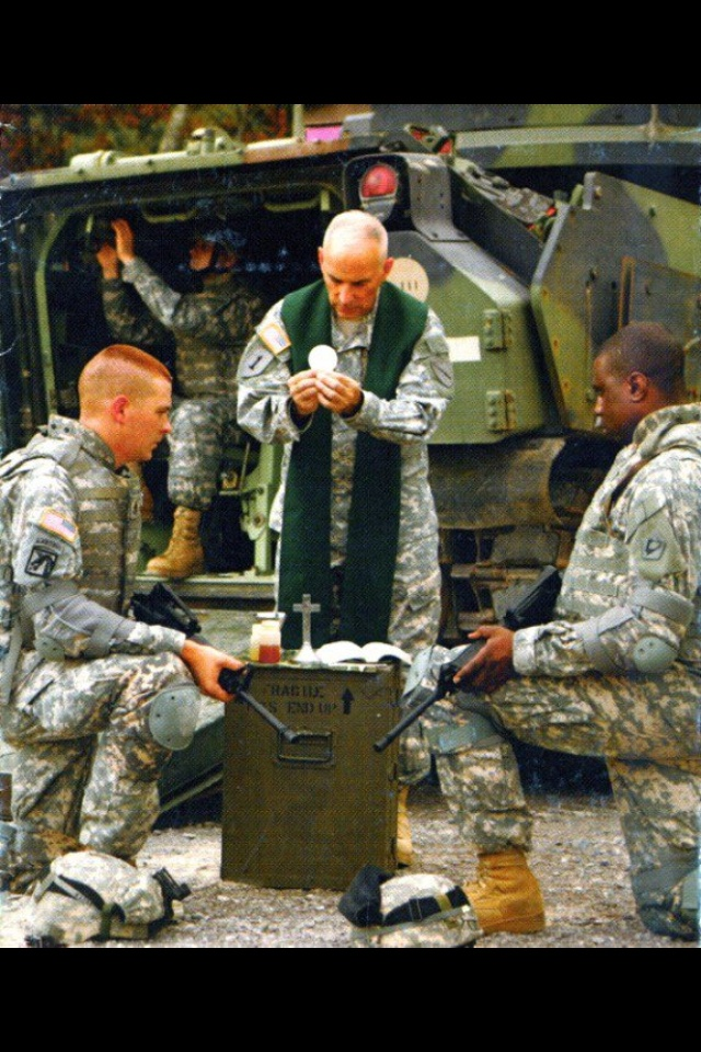 """Church Militant: God on the battlefield via the priest and the Holy Mass. The Catholic priest as warrior, and receiving the Eucharist as part of putting on the Armor of God: the Lord will fight for you; you need only be still [Ex 14:14]. We as Church need to re-learn what spiritual warfare is. The term """"Church Militant"""" may be """"unfashionable,"""" but it is apt. St. Patrick, after all, has his famous """"breastplate"""" prayer. Peter Kreeft recently said that we are at war for our souls."""