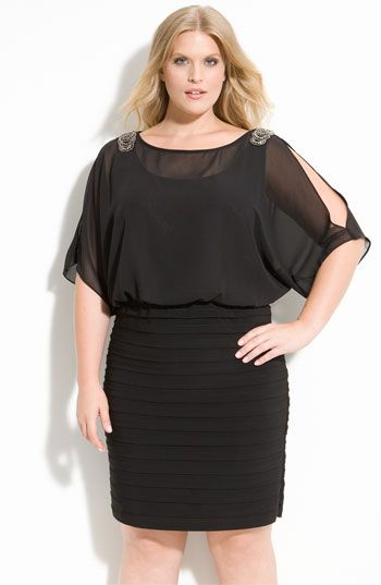 Xscape Beaded Cold Shoulder Dress m available at #Nordstrom Big beautiful real women with curves accept your body plus size body conscientiousness fashion