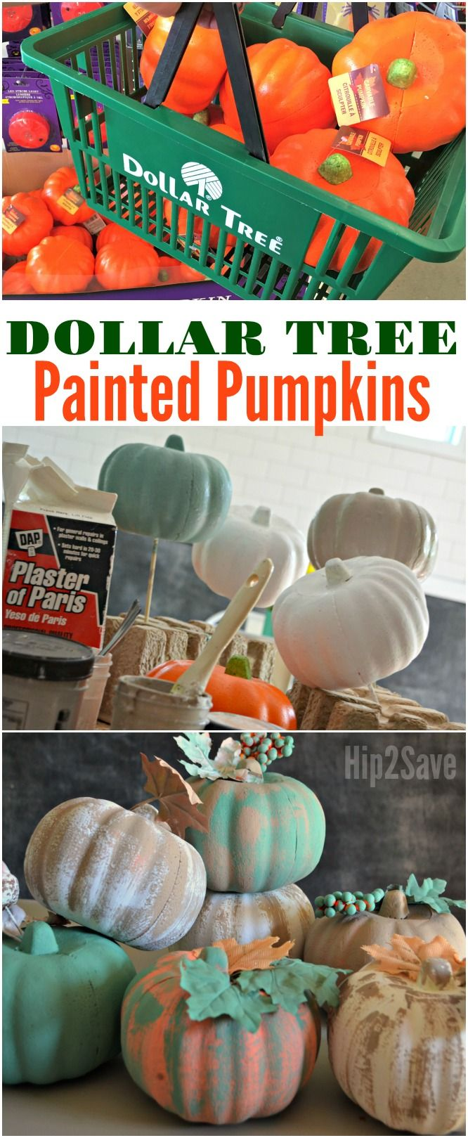 You won't believe these DIY painted, farmhouse style pumpkins are actually from the Dollar Tree!