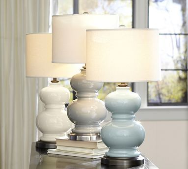 Alexis Ceramic Table Lamp Base #potterybarn Another thought for the living room.  The lines are similar to my table; I would do the ivory,or grey