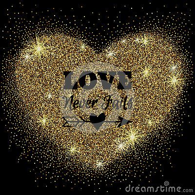 Gold glitter heart with sparkles on black background for your Valentine's day or wedding design. Love concept. Vector illustration