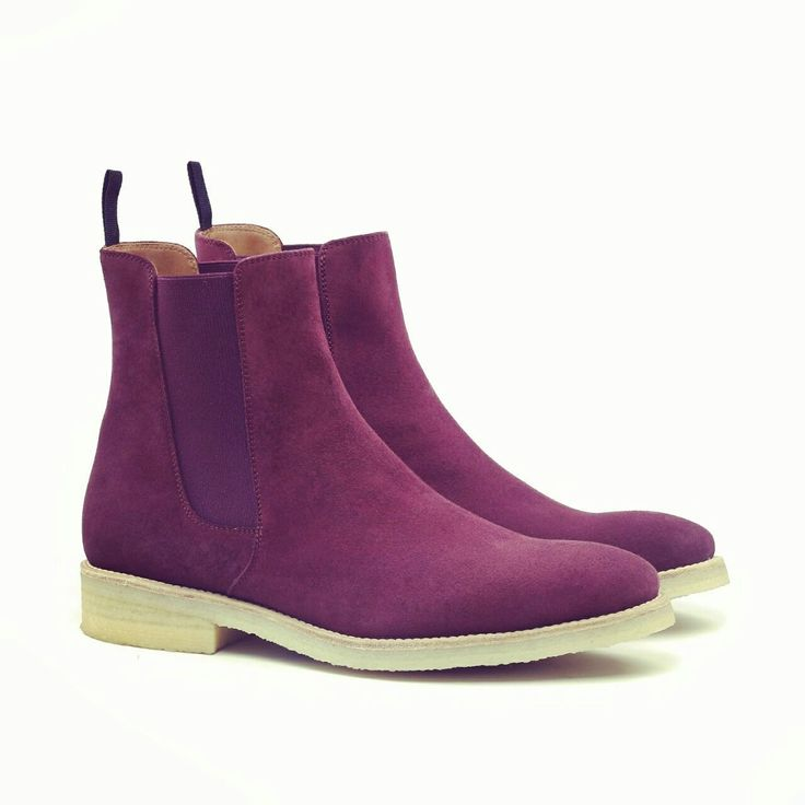 Handmade Men Purple suede leather boot, Mens Chelsea suede boots, Mens boot - Boots