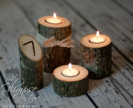 Rustic wedding log table numbers and three candle center for Log candles diy