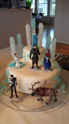Disney Frozen cake that I did for my daughters birthday. Including figures of Anna, Elsa, Olof, Christoffer, Sven and Hans.