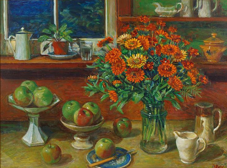 Margaret Olley | Evening Kitchen Still Life with Apples 1991oil on composition board, 68.5 x 92 cm